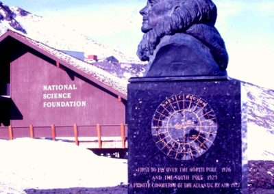Bust of Admiral Byrd in front of NSF headquarters chalet McMurdo Station